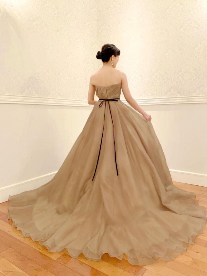 Fiore Bianca(フィオーレビアンカ)オリジナルカラードレス Aライン オーガンジー