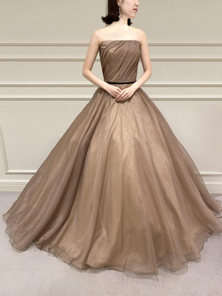 Fiore Bianca(フィオーレビアンカ)オリジナルカラードレス ゴールド ブラウン