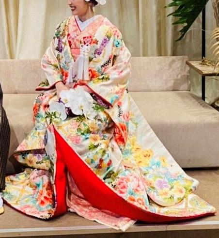 和装 色打掛 白 牡丹 鶴