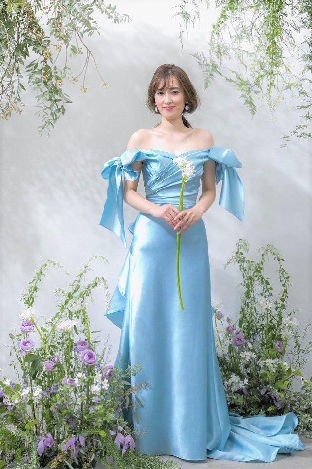 Leaf for Brides(リーフフォーブライズ) カラードレス 水色 リボン
