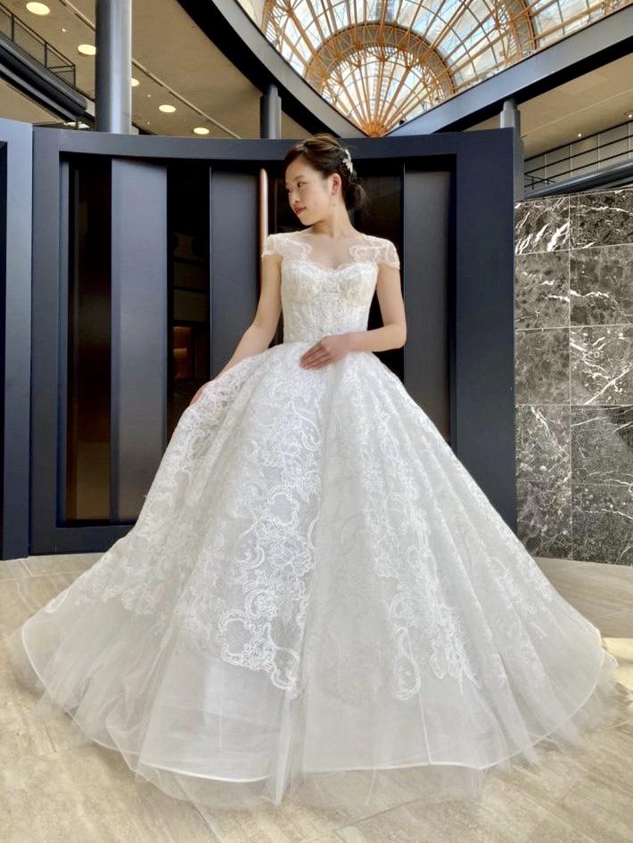 MARCHESA マルケーザ ウェディングドレス レース 刺繍 袖付きドレス フェミニン