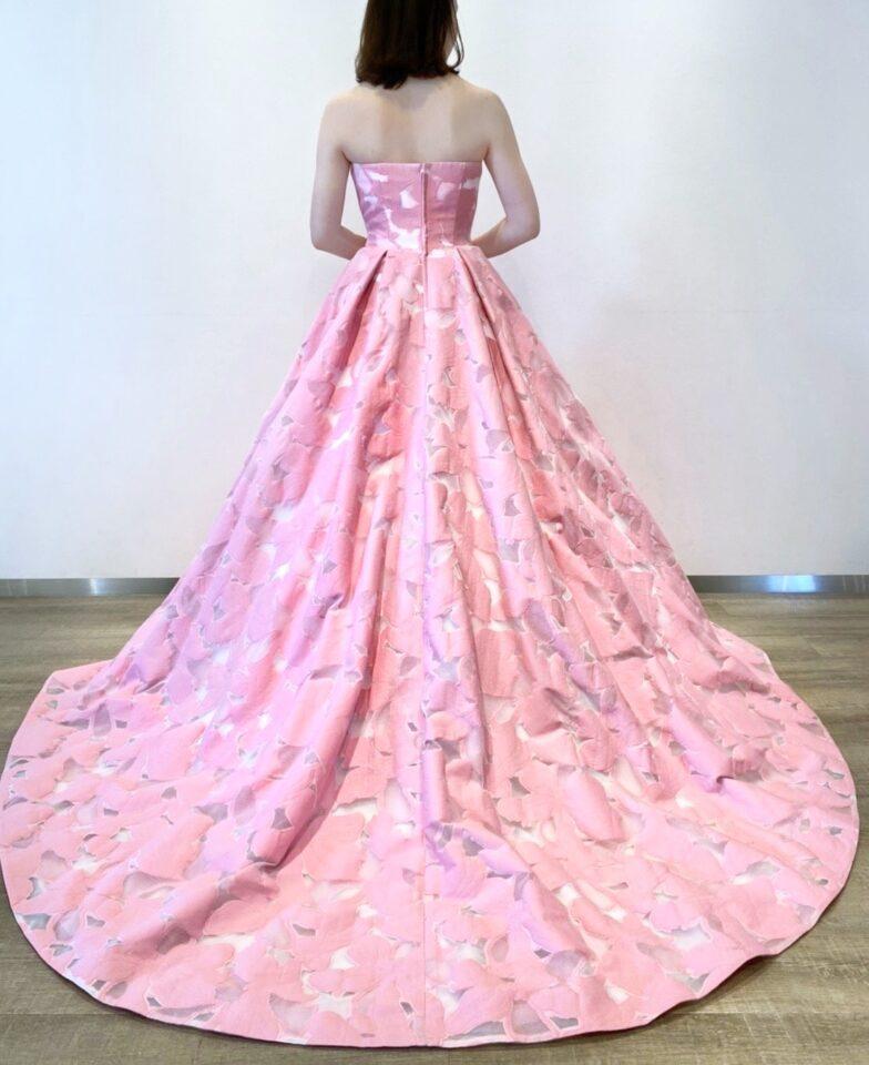 ピンク ジャガード カラードレス