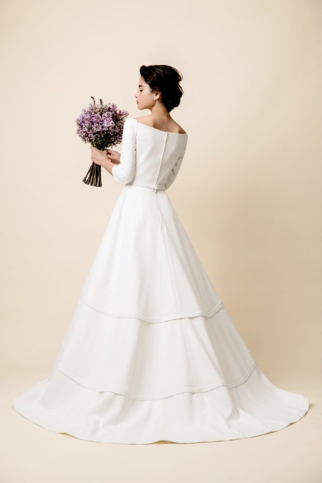 DtLオリジナル ウェディングドレス ボートネック 袖付きドレス ロングスリーブ クラシカル
