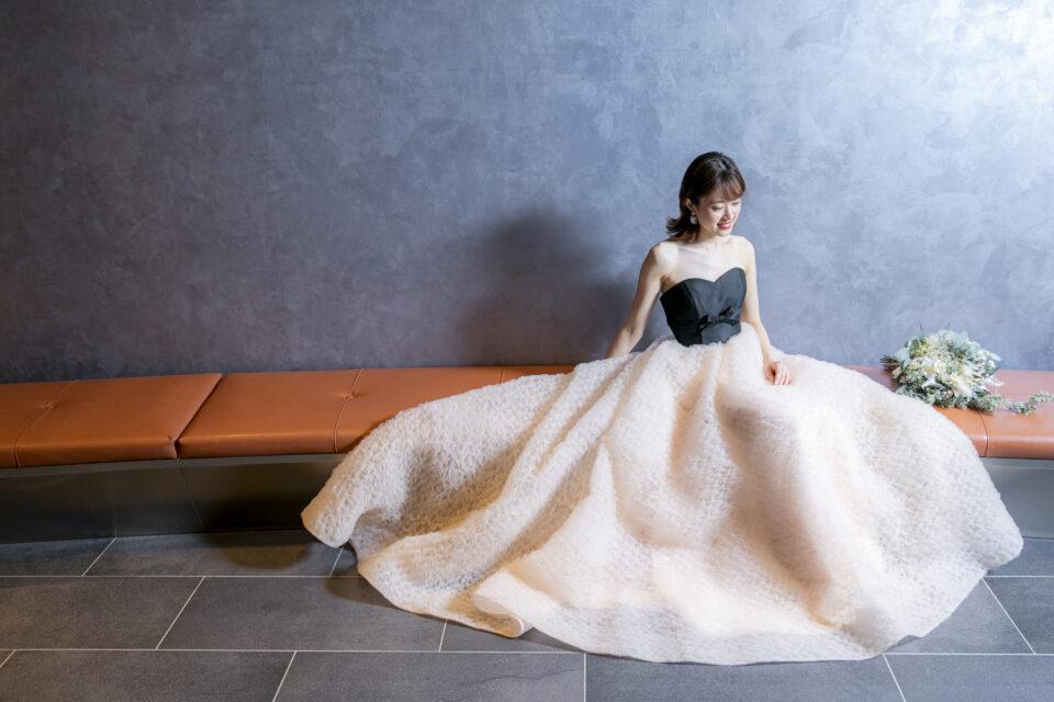 JUNO(ジュノ)オリジナルバイカラードレス KUMIKO ブラック ベージュ