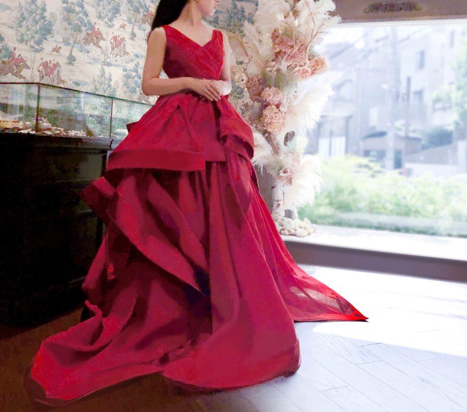 赤 カラードレス アントニオリーヴァ