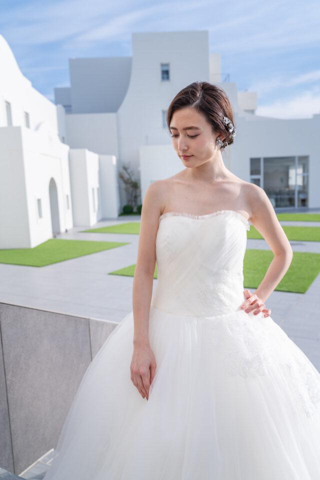 Aライン チュール ウェディングドレス ロングトレーン