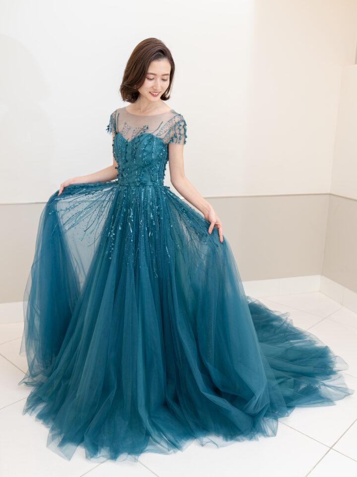 Aライン チュール ブルー カラードレス グリーン
