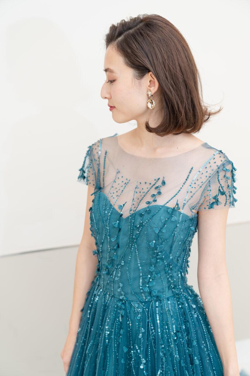 Aライン チュール カラードレス ブルー