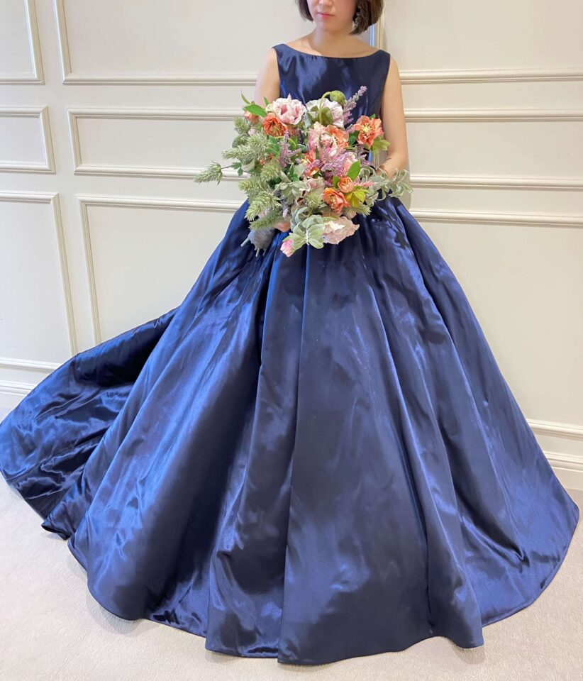 Fiore Bianca(フィオーレビアンカ)オリジナルカラードレス Anise ネイビー ボートネック