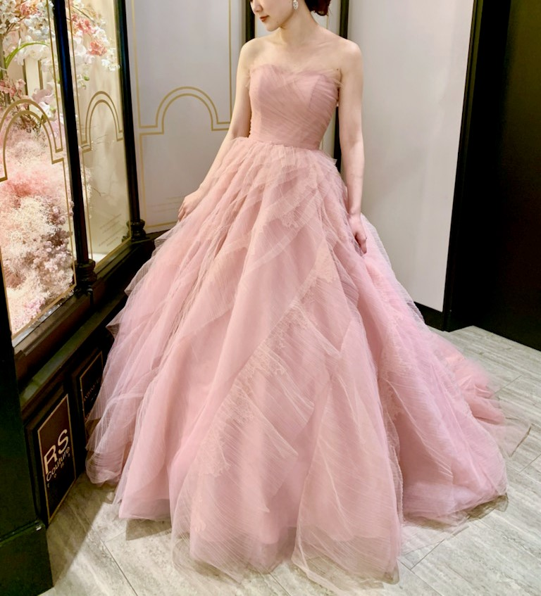 JUNO(ジュノ)オリジナル カラードレス ピンク 2Way チュール