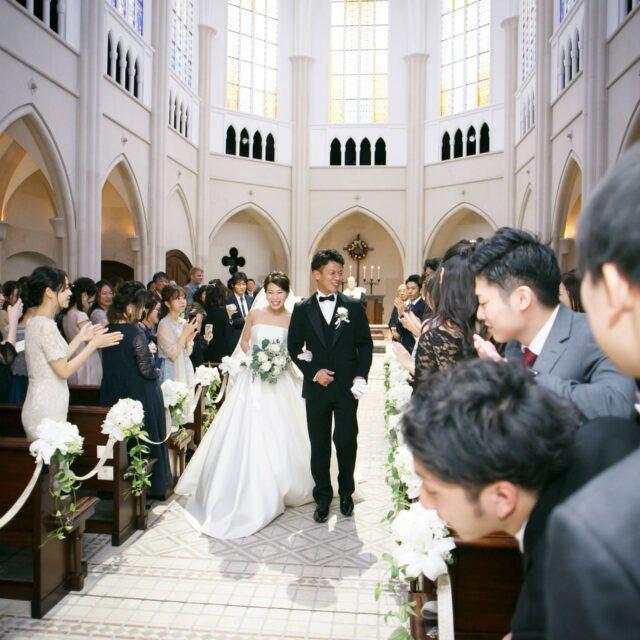 ホテル日航福岡 CHAPEL PRIERE チャペルプリエール 挙式 ウェディング 退場
