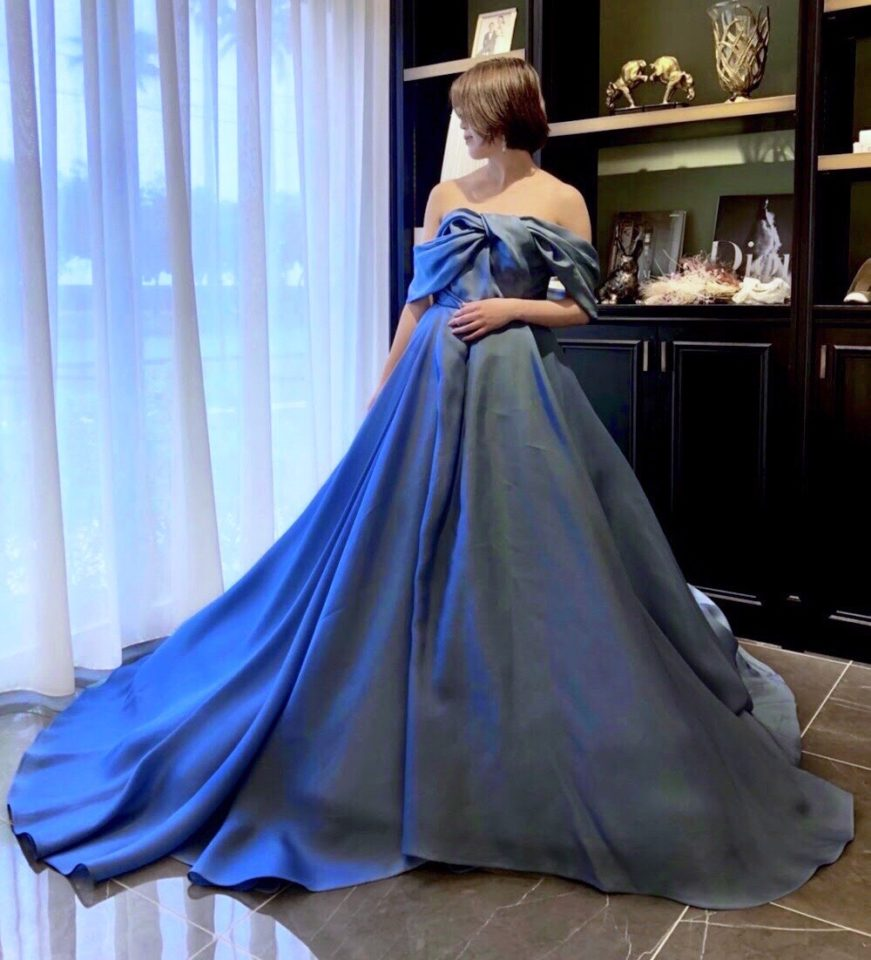 ANTONIO RIVA(アントニオリーヴァ) オフショルダー ブルー Blue カラードレス