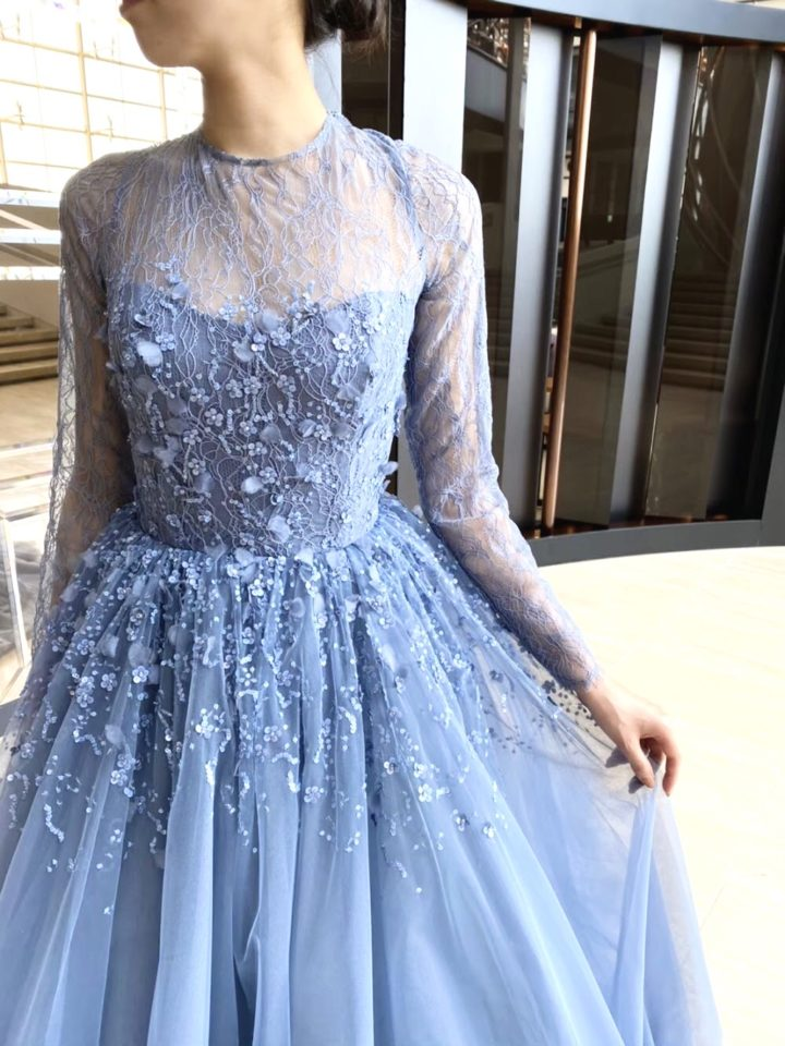 KENNETH POOL(ケネスプール) ニュアンスカラードレス ブルー 袖付きドレス