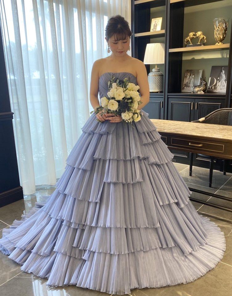 カラードレス ニュアンスカラードレス ブルー オーガンジー
