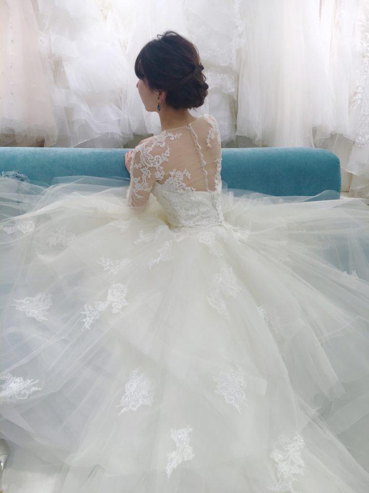 チュールAラインウェディングドレス