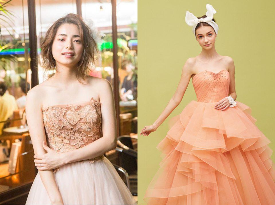 可愛く、元気あふれる花嫁様のためのピーチ色ドレス♡