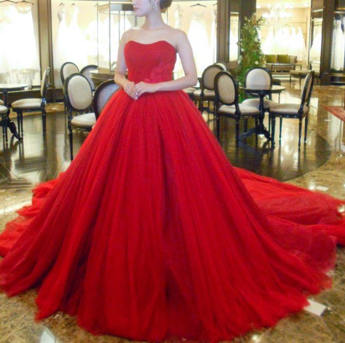 カラードレス 赤 チュール レース red