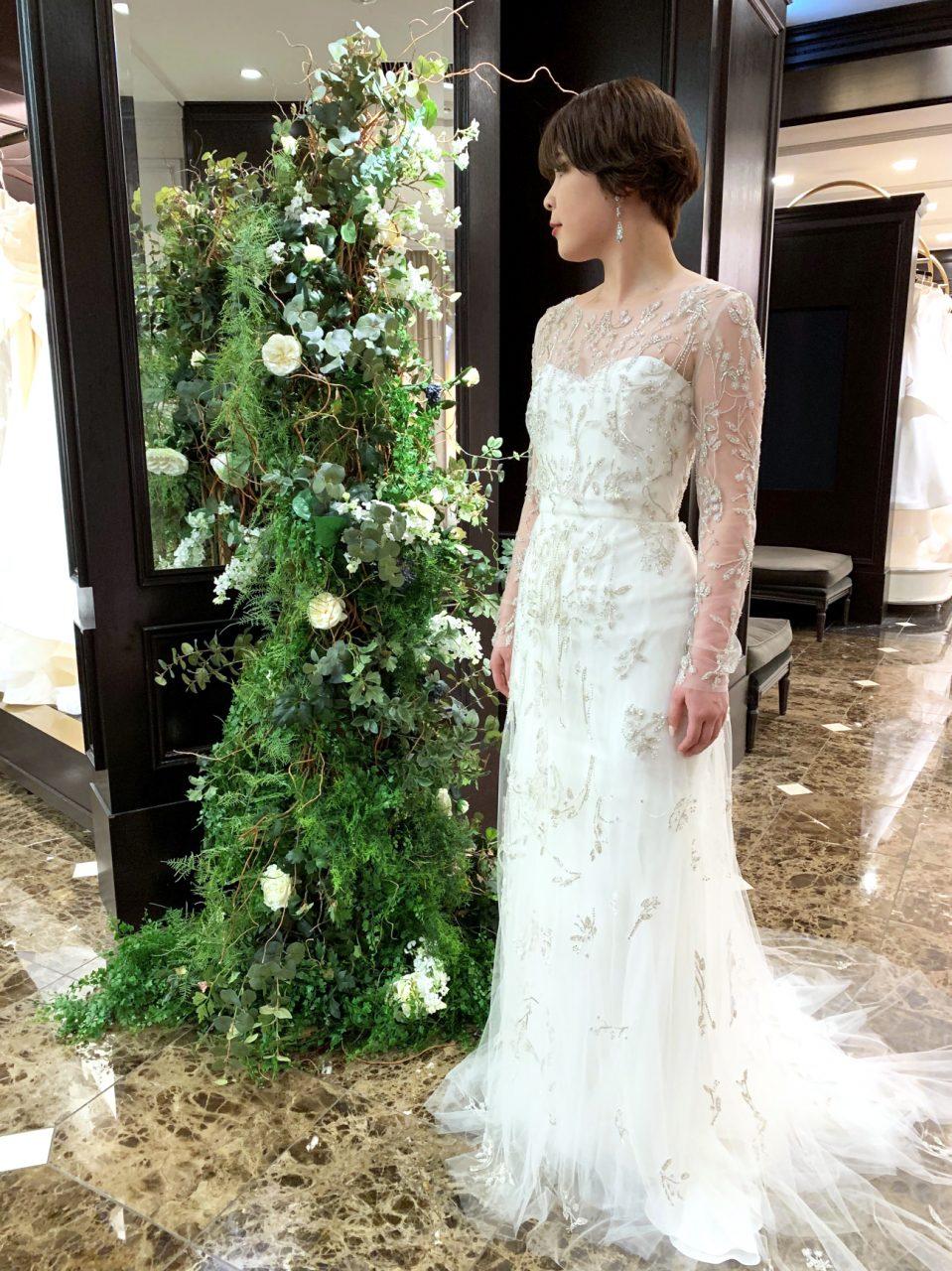 KENNETH POOL(ケネスプール) ロングスリーブ スレンダー ウェディングドレス