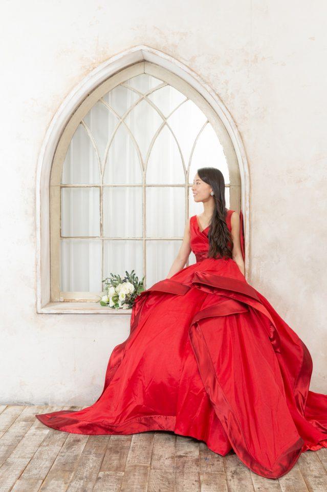 アントニオリーヴァ シルク 赤 カラードレス